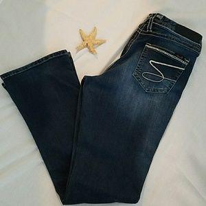 Seven7 Distressed Woman's Dark Wash Jeans